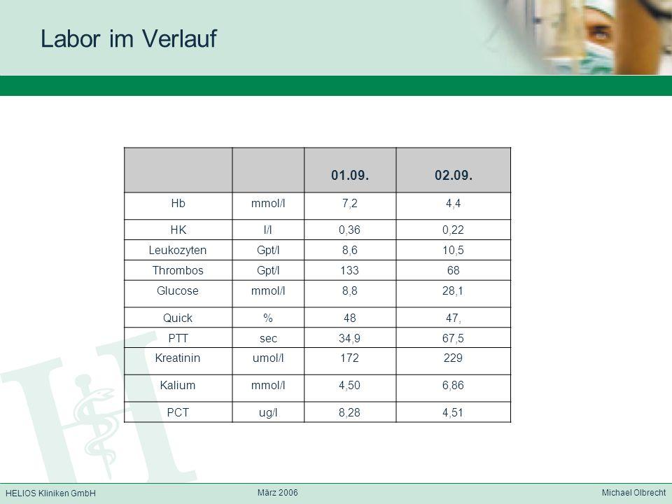 HELIOS Kliniken GmbH März 2006 Michael Olbrecht Labor im Verlauf 01.09.02.09. Hbmmol/l7,24,4 HKl/l0,360,22 LeukozytenGpt/l8,610,5 ThrombosGpt/l13368 G