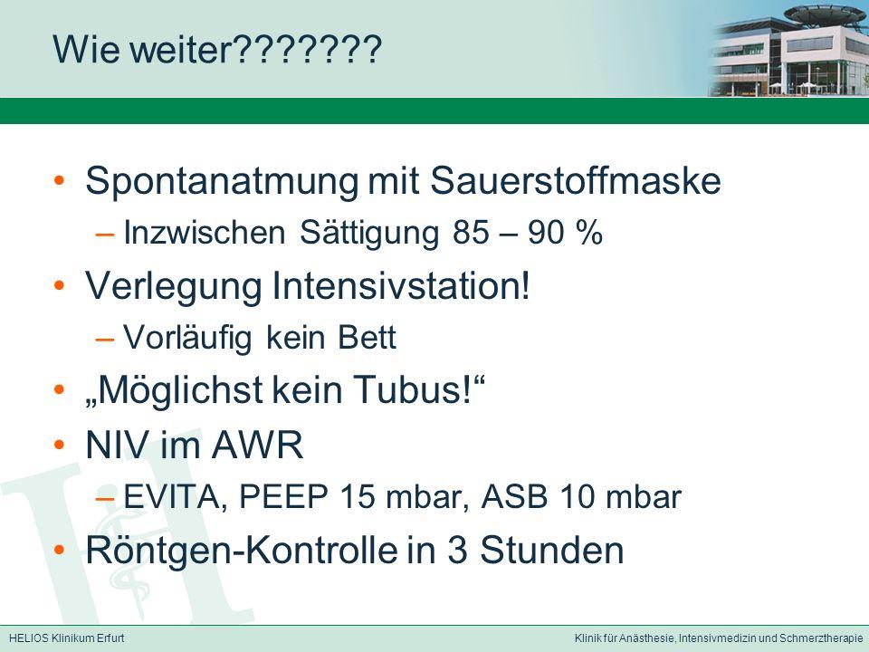 HELIOS Klinikum ErfurtKlinik für Anästhesie, Intensivmedizin und Schmerztherapie Wie weiter??????.