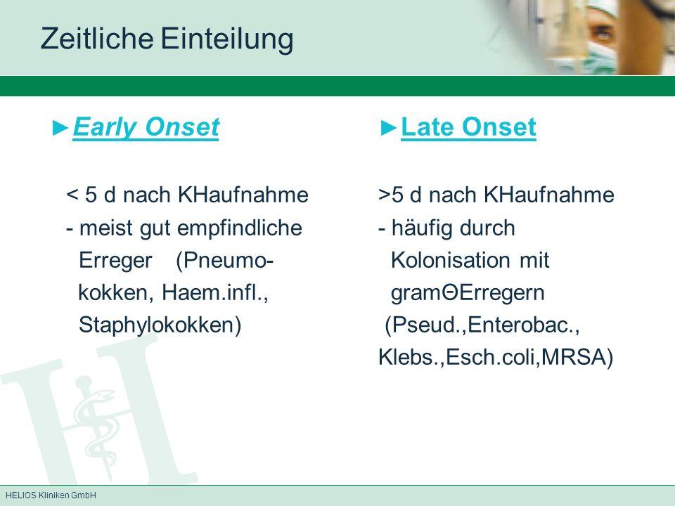 HELIOS Kliniken GmbH Zeitliche Einteilung Early Onset Late Onset 5 d nach KHaufnahme - meist gut empfindliche - häufig durch Erreger(Pneumo- Kolonisation mit kokken, Haem.infl., gramΘErregern Staphylokokken) (Pseud.,Enterobac., Klebs.,Esch.coli,MRSA)