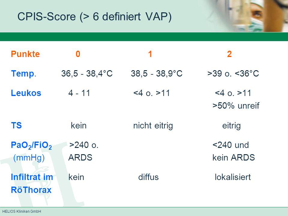 HELIOS Kliniken GmbH CPIS-Score (> 6 definiert VAP) Punkte 0 1 2 Temp.