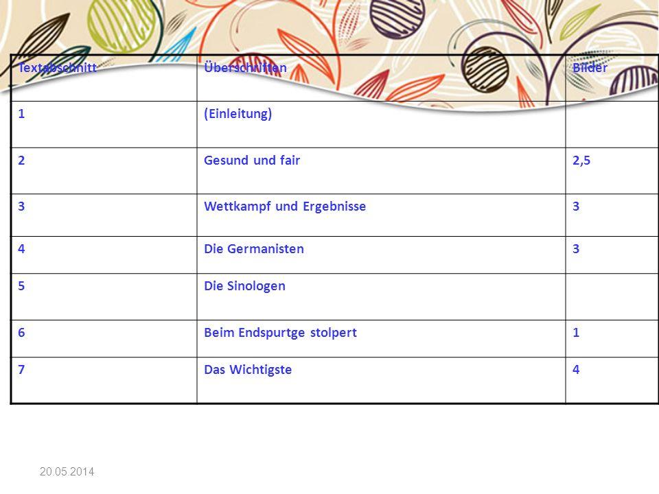 20.05.2014 TextabschnittÜberschriftenBilder 1(Einleitung) 2Gesund und fair2,5 3Wettkampf und Ergebnisse3 4Die Germanisten3 5Die Sinologen 6Beim Endspu