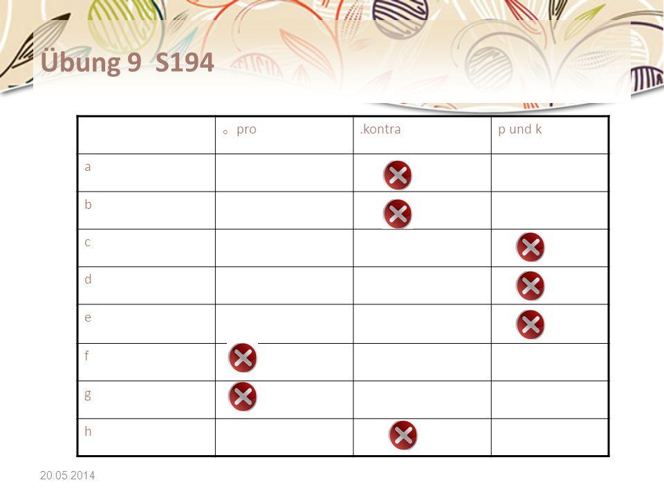 20.05.2014 Übung 9 S194 pro.kontrap und k a b c d e f g h