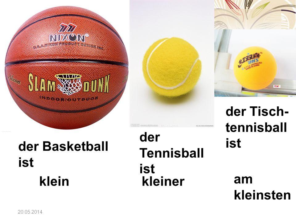20.05.2014 der Basketball ist der Tennisball ist der Tisch- tennisball ist kleinkleiner am kleinsten