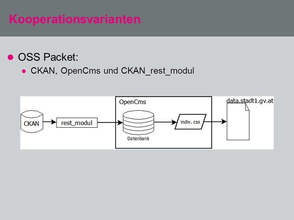 Kooperationsvarianten OSS Packet: CKAN, OpenCms und CKAN_rest_modul