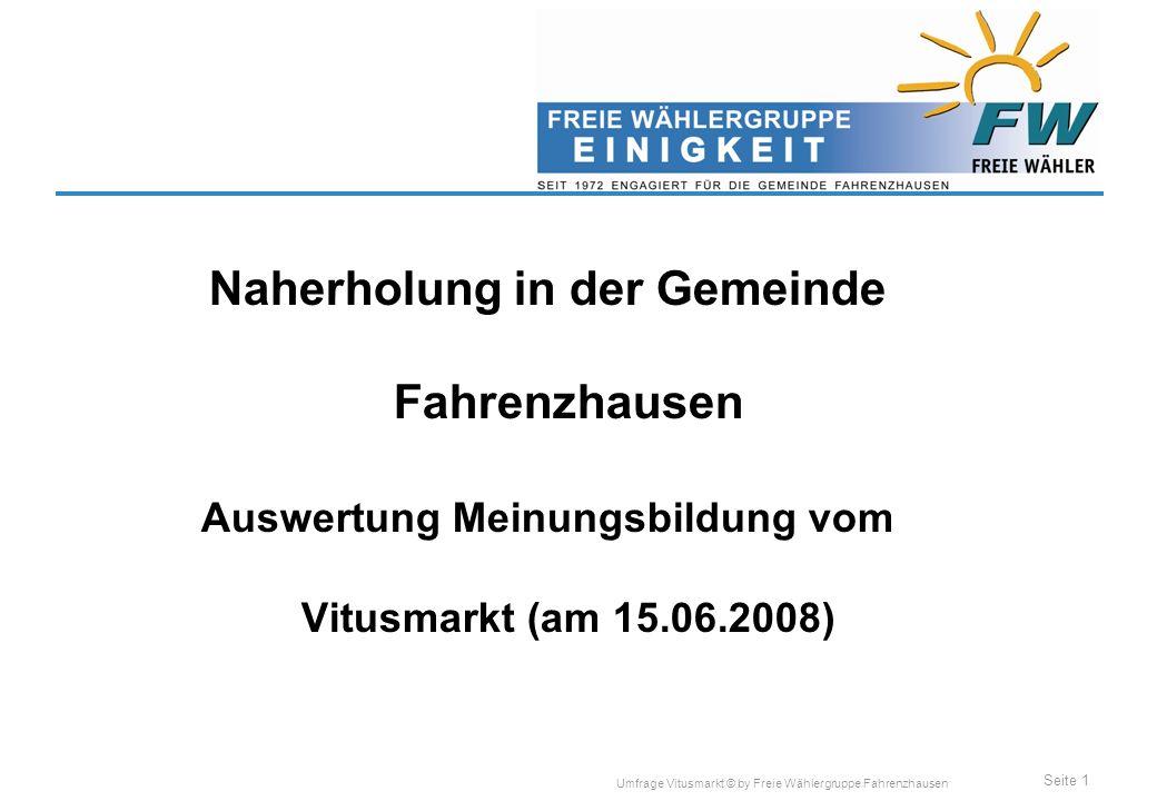 Seite 1 Umfrage Vitusmarkt © by Freie Wählergruppe Fahrenzhausen Naherholung in der Gemeinde Fahrenzhausen Auswertung Meinungsbildung vom Vitusmarkt (am 15.06.2008)