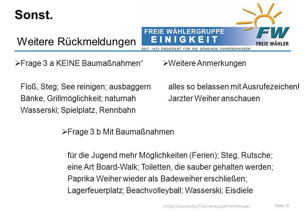 Seite 12 Umfrage Vitusmarkt © by Freie Wählergruppe Fahrenzhausen Weitere Rückmeldungen Sonst.