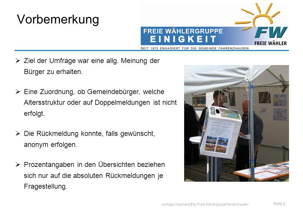 Seite 2 Umfrage Vitusmarkt © by Freie Wählergruppe Fahrenzhausen Vorbemerkung Ziel der Umfrage war eine allg.