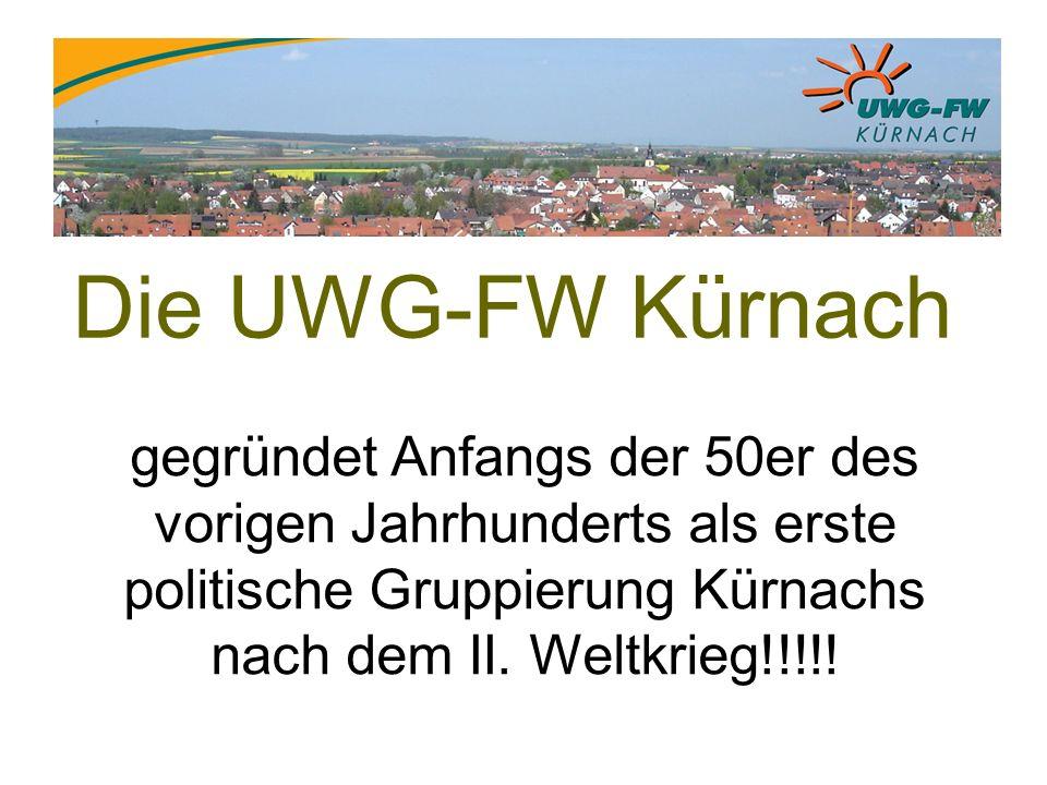 Die UWG-FW Kürnach gegründet Anfangs der 50er des vorigen Jahrhunderts als erste politische Gruppierung Kürnachs nach dem II.