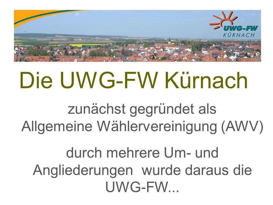 Die UWG-FW Kürnach zunächst gegründet als Allgemeine Wählervereinigung (AWV) durch mehrere Um- und Angliederungen wurde daraus die UWG-FW...