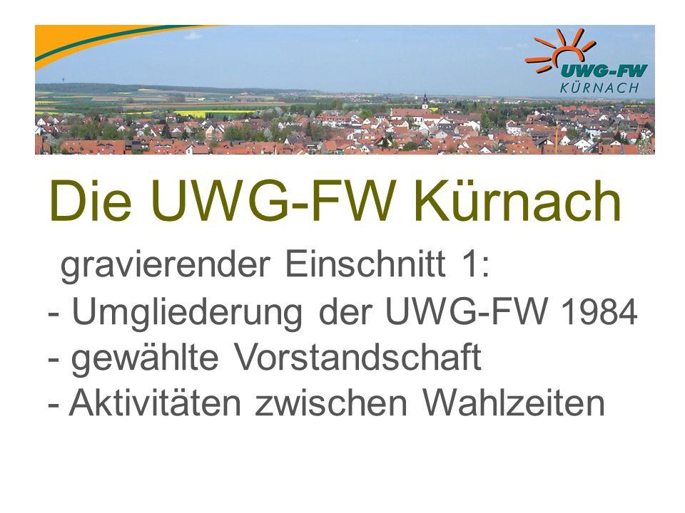 Die UWG-FW Kürnach gravierender Einschnitt 1: - Umgliederung der UWG-FW 1984 - gewählte Vorstandschaft - Aktivitäten zwischen Wahlzeiten