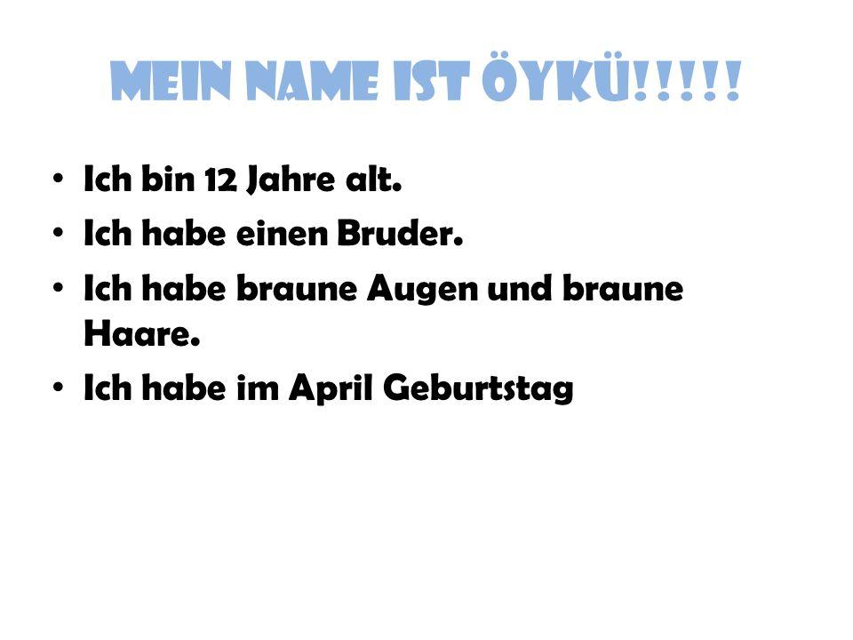 MEIN NAME IST ÖYKÜ!!!!! Ich bin 12 Jahre alt. Ich habe einen Bruder. Ich habe braune Augen und braune Haare. Ich habe im April Geburtstag