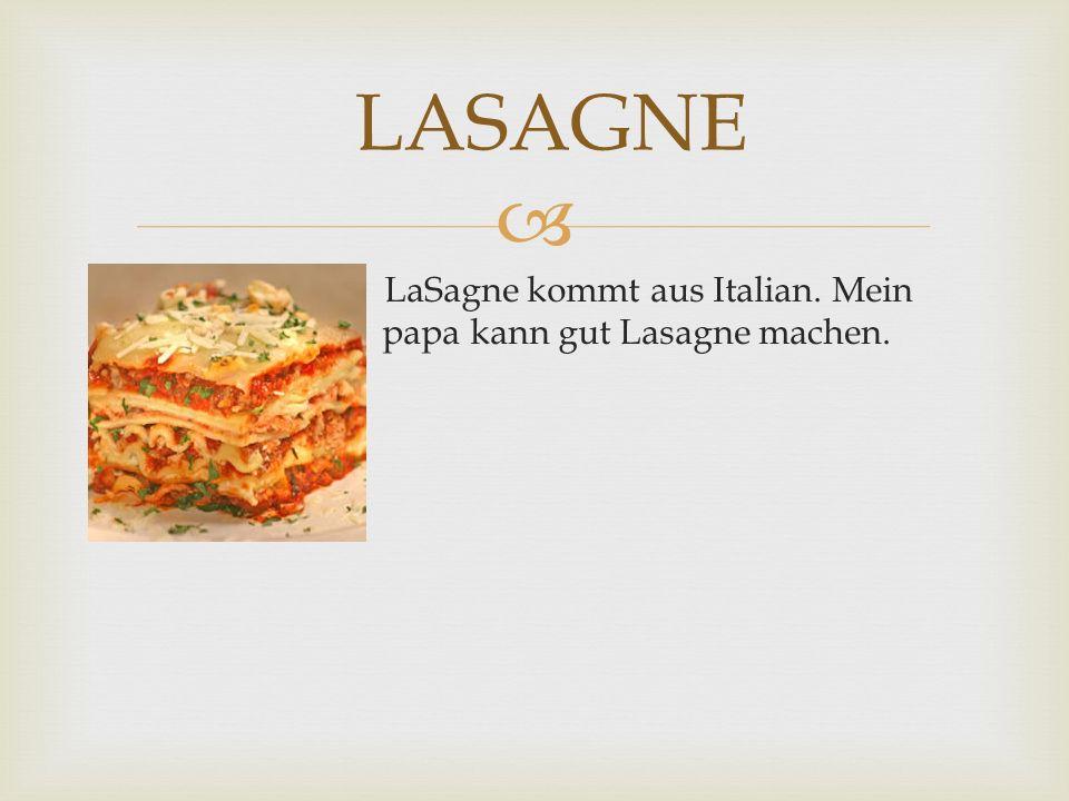 LaSagne kommt aus Italian. Mein papa papa kann gut Lasagne machen. LASAGNE