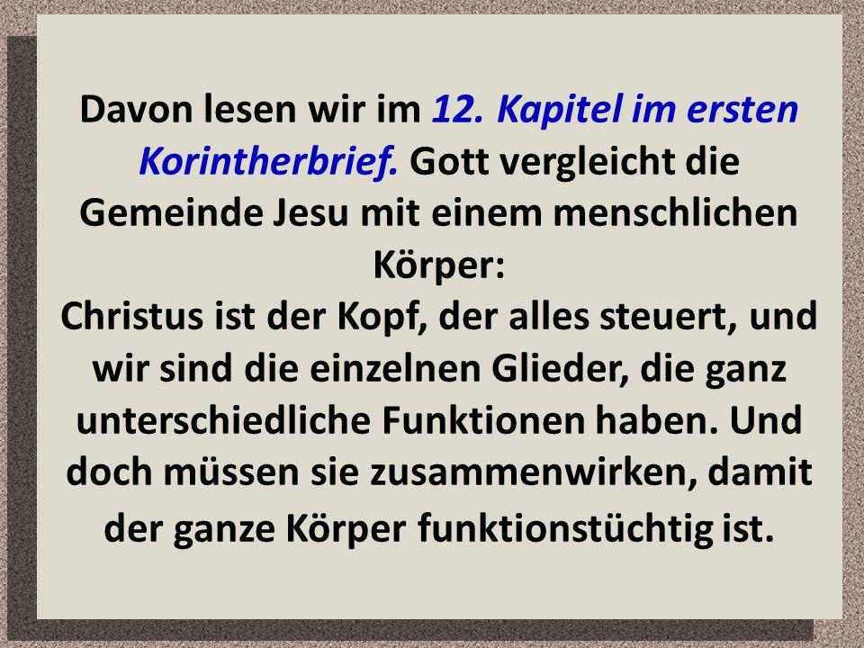 Davon lesen wir im 12. Kapitel im ersten Korintherbrief. Gott vergleicht die Gemeinde Jesu mit einem menschlichen Körper: Christus ist der Kopf, der a