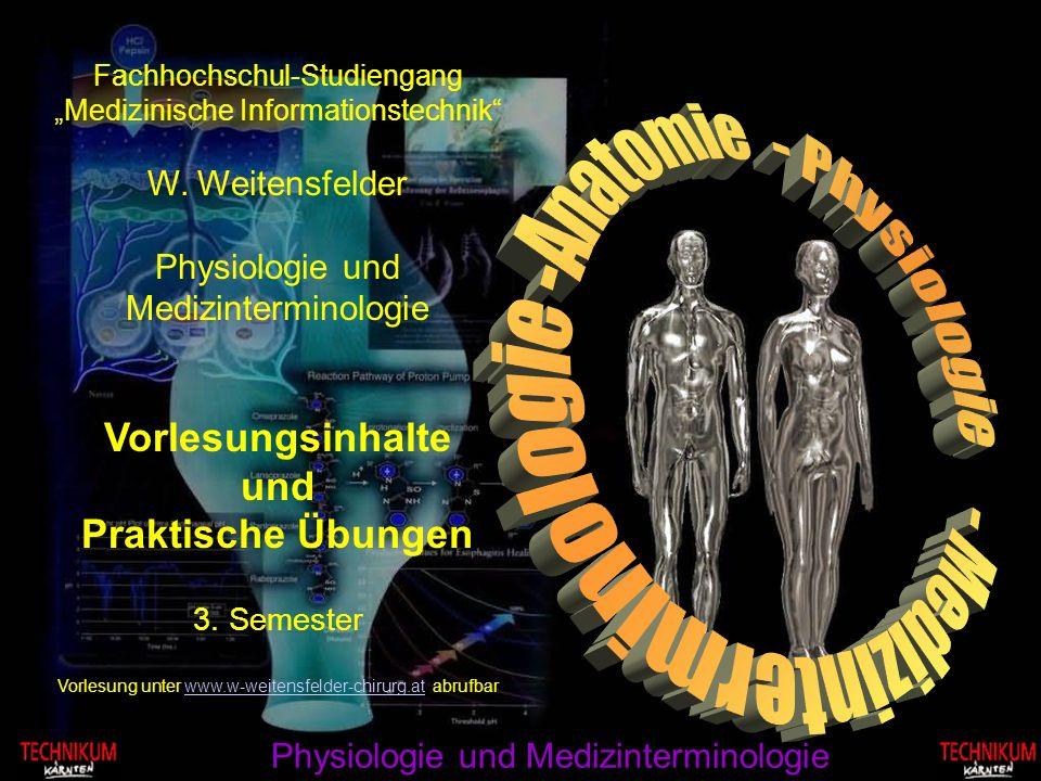 Fachhochschul-Studiengang Medizinische Informationstechnik W. Weitensfelder Physiologie und Medizinterminologie Vorlesungsinhalte und Praktische Übung