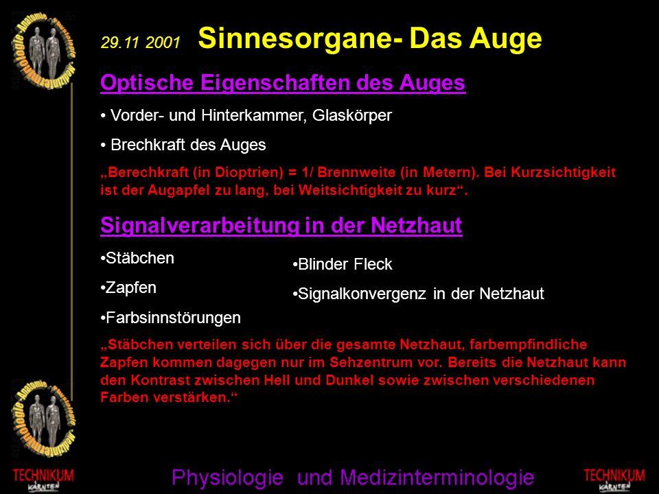 29.11 2001 Sinnesorgane- Das Auge Optische Eigenschaften des Auges Vorder- und Hinterkammer, Glaskörper Brechkraft des Auges Berechkraft (in Dioptrien