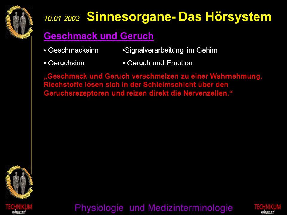 10.01 2002 Sinnesorgane- Das Hörsystem Geschmack und Geruch Geschmacksinn Geruchsinn Geschmack und Geruch verschmelzen zu einer Wahrnehmung. Riechstof