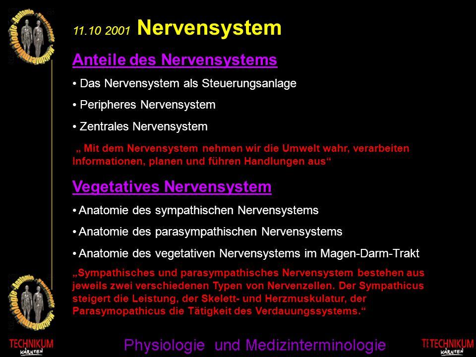 11.10 2001 Nervensystem Anteile des Nervensystems Das Nervensystem als Steuerungsanlage Peripheres Nervensystem Zentrales Nervensystem Mit dem Nervens