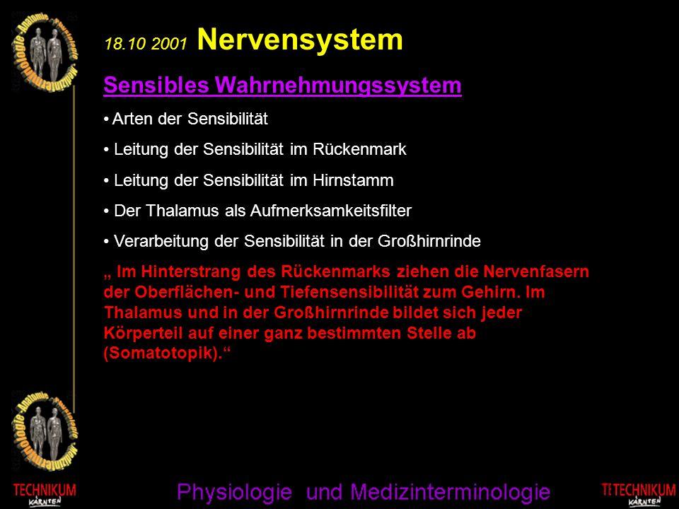 18.10 2001 Nervensystem Sensibles Wahrnehmungssystem Arten der Sensibilität Leitung der Sensibilität im Rückenmark Leitung der Sensibilität im Hirnsta