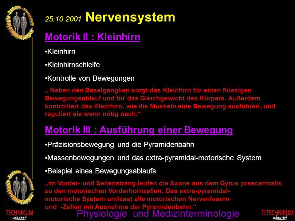 25.10 2001 Nervensystem Motorik II : Kleinhirn Kleinhirn Kleinhirnschleife Kontrolle von Bewegungen Neben den Basalganglien sorgt das Kleinhirn für ei
