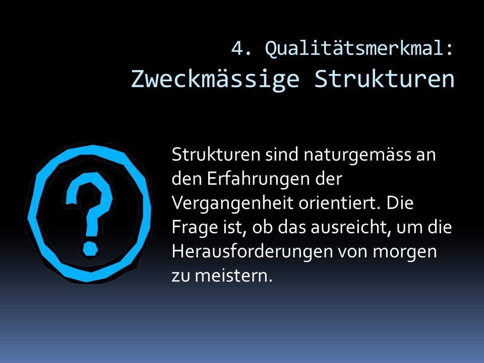 4. Qualitätsmerkmal: Zweckmässige Strukturen Strukturen sind naturgemäss an den Erfahrungen der Vergangenheit orientiert. Die Frage ist, ob das ausrei