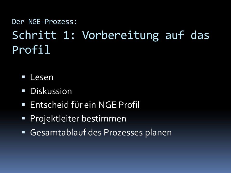 Der NGE-Prozess: Schritt 1: Vorbereitung auf das Profil Lesen Diskussion Entscheid für ein NGE Profil Projektleiter bestimmen Gesamtablauf des Prozess