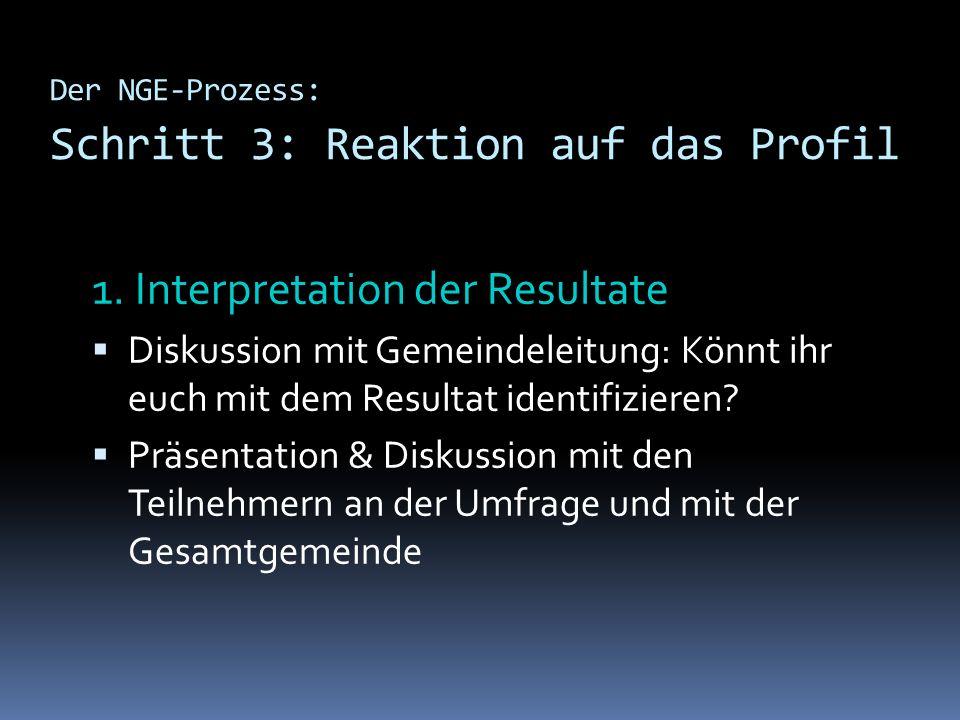 Der NGE-Prozess: Schritt 3: Reaktion auf das Profil 1. Interpretation der Resultate Diskussion mit Gemeindeleitung: Könnt ihr euch mit dem Resultat id