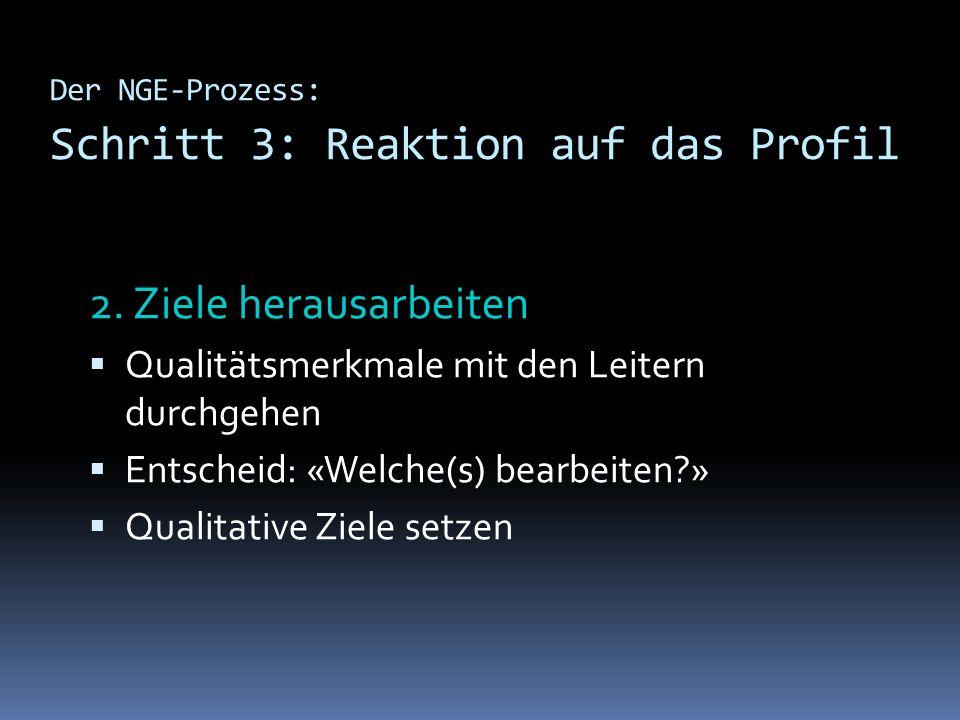 Der NGE-Prozess: Schritt 3: Reaktion auf das Profil 2. Ziele herausarbeiten Qualitätsmerkmale mit den Leitern durchgehen Entscheid: «Welche(s) bearbei