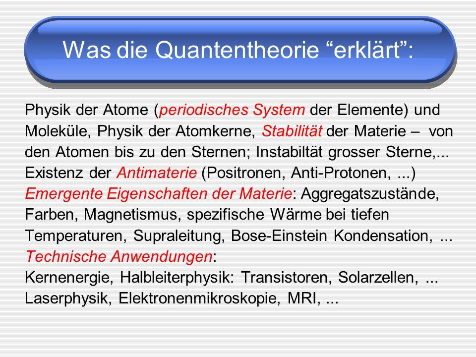 Was die Quantentheorie erklärt: Physik der Atome (periodisches System der Elemente) und Moleküle, Physik der Atomkerne, Stabilität der Materie – von d