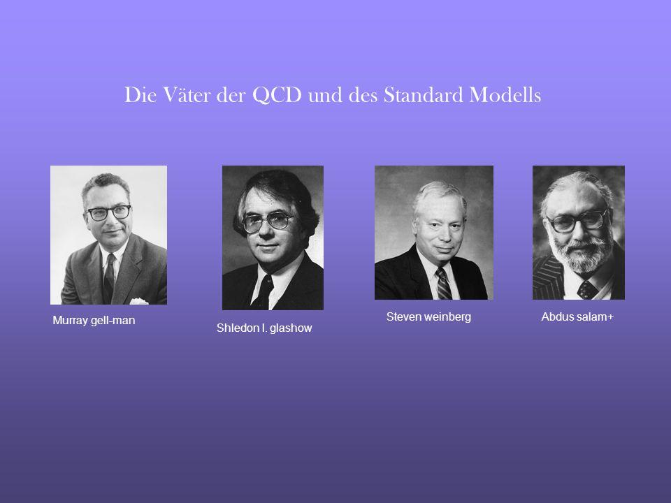 Murray gell-man Shledon l. glashow Abdus salam+Steven weinberg Die Väter der QCD und des Standard Modells
