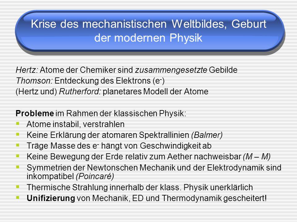 Krise des mechanistischen Weltbildes, Geburt der modernen Physik Hertz: Atome der Chemiker sind zusammengesetzte Gebilde Thomson: Entdeckung des Elekt