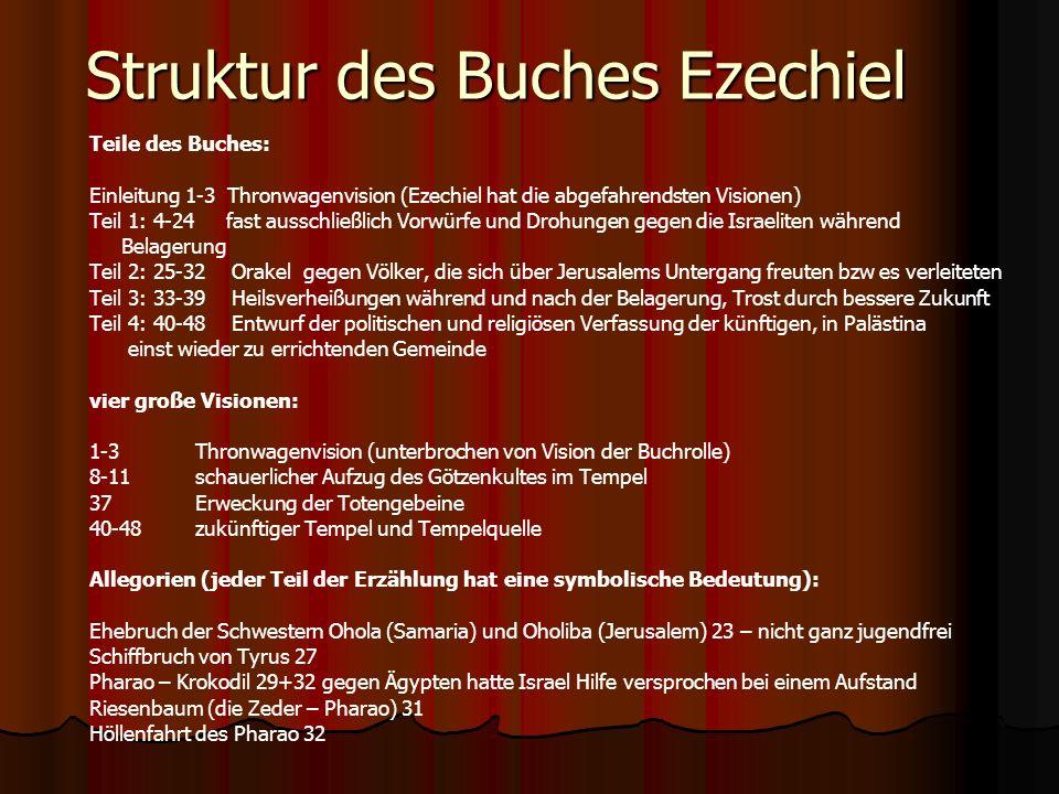 Struktur des Buches Ezechiel Teile des Buches: Einleitung 1-3 Thronwagenvision (Ezechiel hat die abgefahrendsten Visionen) Teil 1: 4-24 fast ausschlie