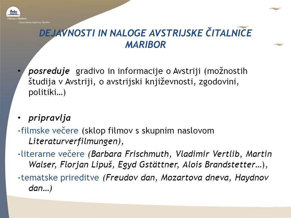 DEJAVNOSTI IN NALOGE AVSTRIJSKE ČITALNICE MARIBOR posreduje gradivo in informacije o Avstriji (možnostih študija v Avstriji, o avstrijski književnosti, zgodovini, politiki…) pripravlja -filmske večere (sklop filmov s skupnim naslovom Literaturverfilmungen), -literarne večere (Barbara Frischmuth, Vladimir Vertlib, Martin Walser, Florjan Lipuš, Egyd Gstättner, Alois Brandstetter…), -tematske prireditve (Freudov dan, Mozartova dneva, Haydnov dan…)