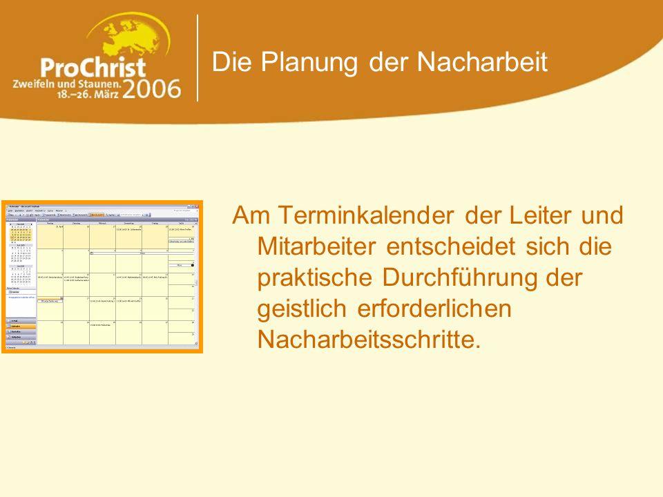 Die Planung der Nacharbeit Am Terminkalender der Leiter und Mitarbeiter entscheidet sich die praktische Durchführung der geistlich erforderlichen Nach