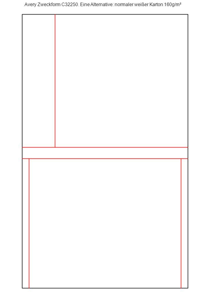 Avery Zweckform C32250. Eine Alternative: normaler weißer Karton 160g/m²