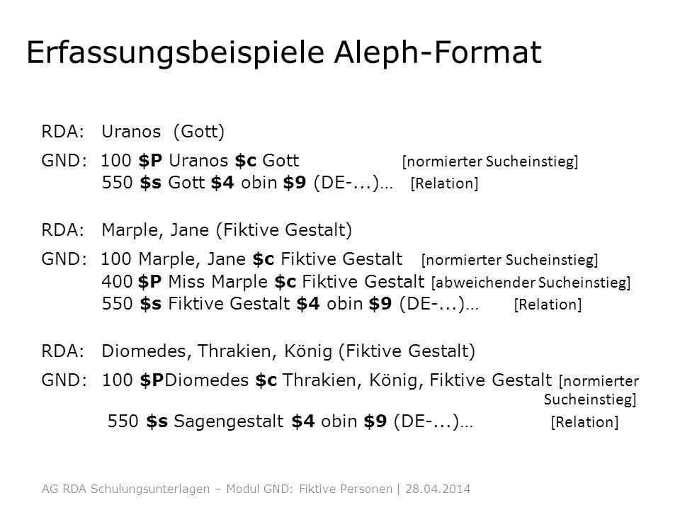 Erfassungsbeispiele Aleph-Format RDA: Uranos (Gott) GND: 100 $P Uranos $c Gott [normierter Sucheinstieg] 550 $s Gott $4 obin $9 (DE-...)… [Relation] R