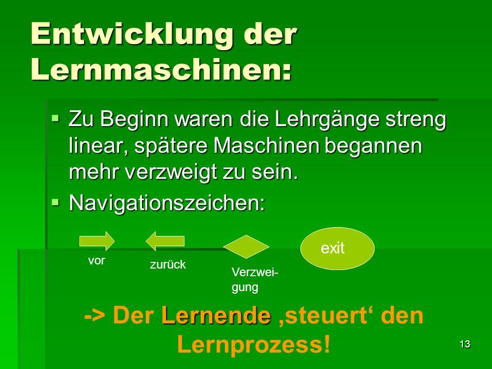 12 Lernmaschine: Falls Antwort korrekt wird die nächste Aufgabe gestellt, ansonsten wird die gleiche Rechnung wieder gezeigt. Ein falsches Resultat wi