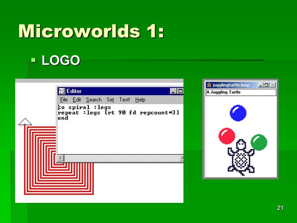 20 Konstruktions- pädagogische Ansätze: Microwordls: Microwordls: Logo (ab 1970) Logo (ab 1970) Lego logo Lego logo Simulationen (ab ~ 1970) Simulatio