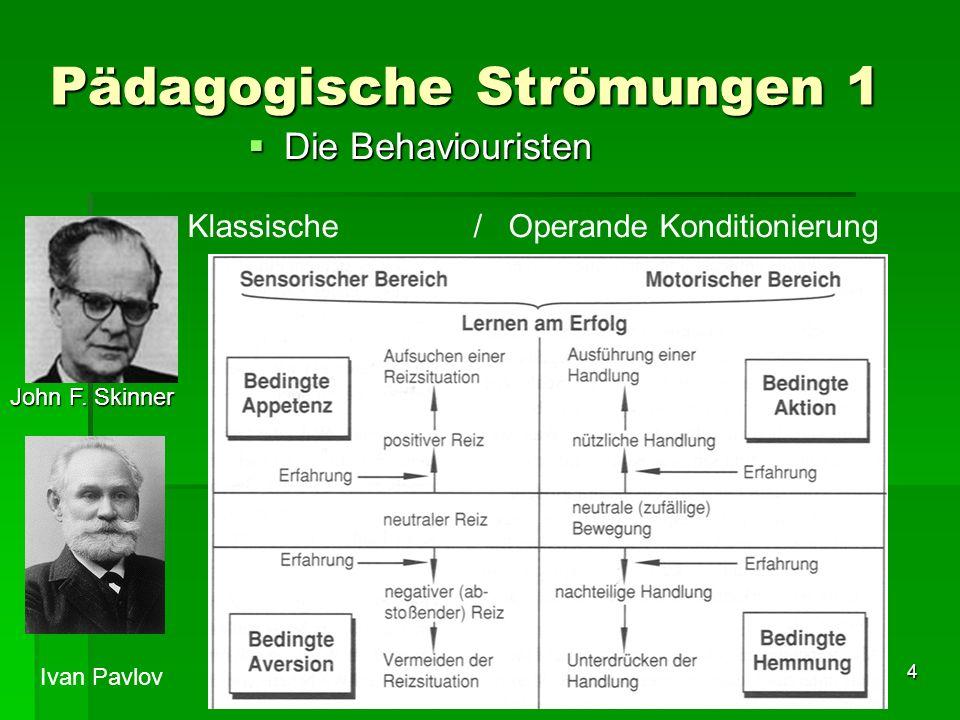 4 Pädagogische Strömungen 1 Die Behaviouristen Die Behaviouristen Klassische / Operande Konditionierung John F.