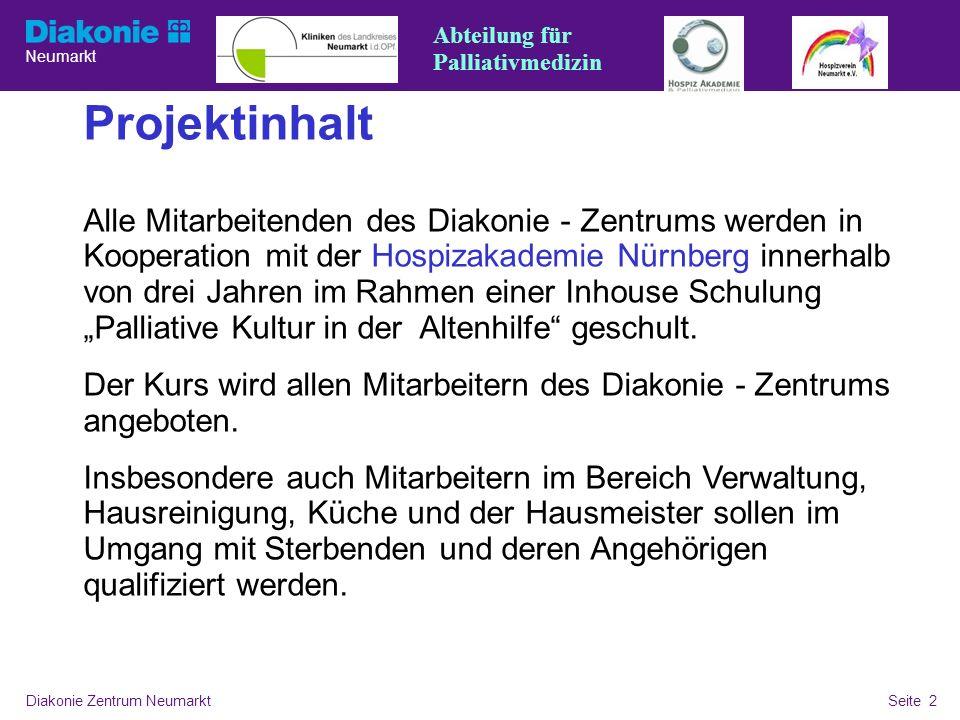 Neumarkt Seite 2 Diakonie Zentrum NeumarktSeite 2 Überschrift, Fließtext mit Aufzählung Projektinhalt Alle Mitarbeitenden des Diakonie - Zentrums werd