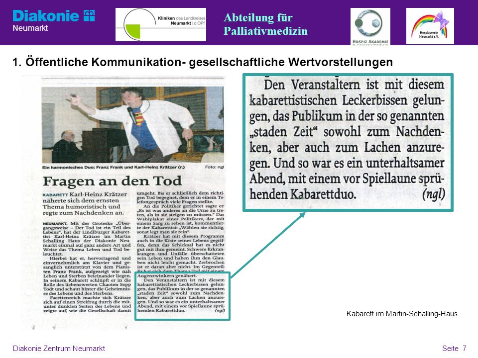 Neumarkt Seite 7 Diakonie Zentrum NeumarktSeite 7 1. Öffentliche Kommunikation- gesellschaftliche Wertvorstellungen Kabarett im Martin-Schalling-Haus