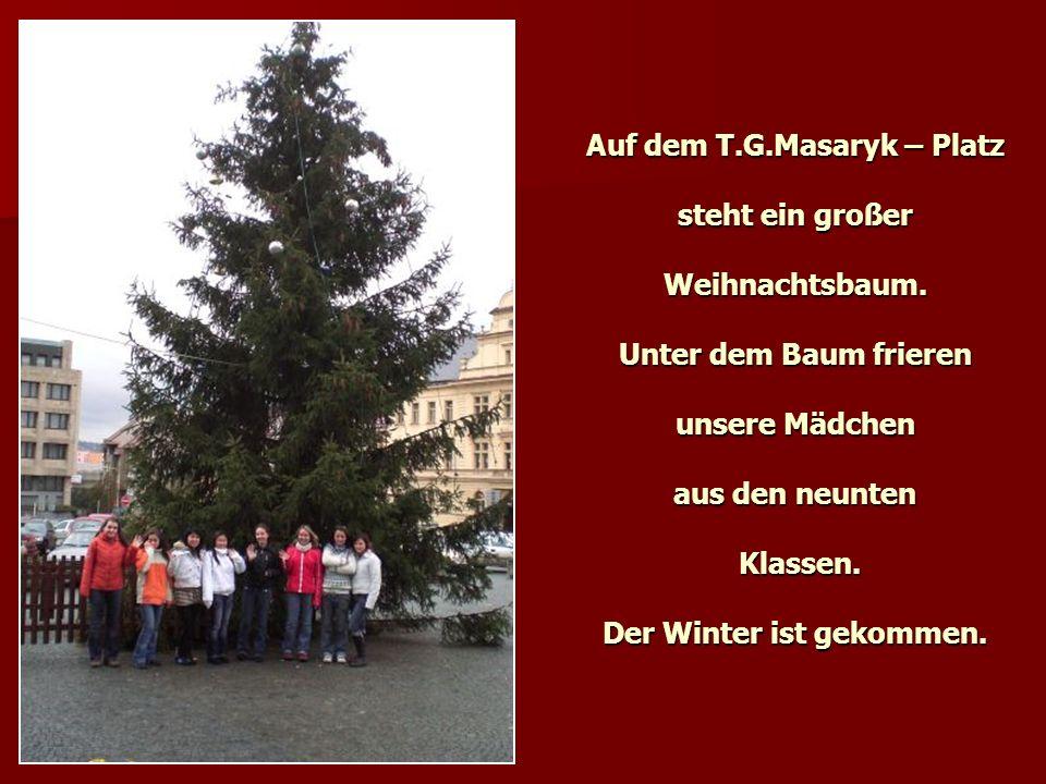 Auf dem T.G.Masaryk – Platz steht ein großer Weihnachtsbaum. Unter dem Baum frieren unsere Mädchen aus den neunten Klassen. Der Winter ist gekommen.