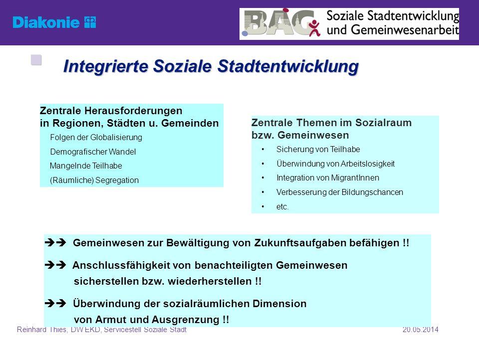 20.05.2014Reinhard Thies, DW EKD, Servicestell Soziale Stadt Soziale Stadt: Koproduktion Kooperation der Akteure (1., 2.