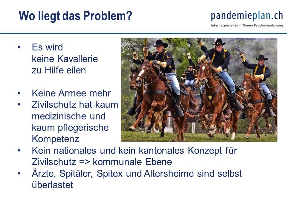 Wo liegt das Problem? Es wird keine Kavallerie zu Hilfe eilen Keine Armee mehr Zivilschutz hat kaum medizinische und kaum pflegerische Kompetenz Kein