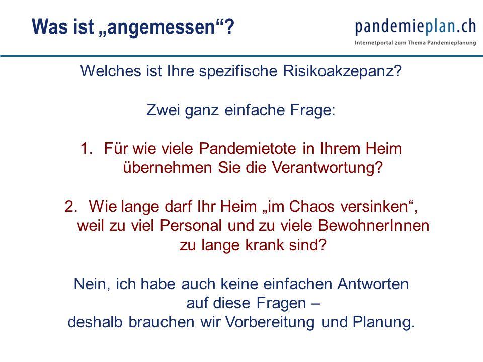 Welches ist Ihre spezifische Risikoakzepanz? Zwei ganz einfache Frage: 1.Für wie viele Pandemietote in Ihrem Heim übernehmen Sie die Verantwortung? 2.