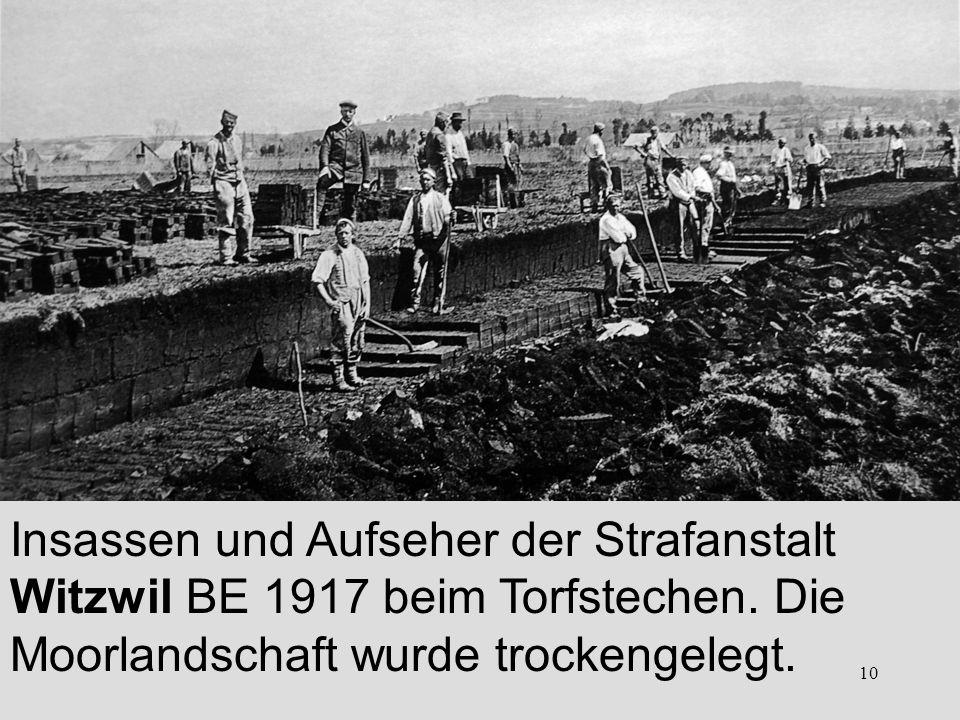 10 Insassen und Aufseher der Strafanstalt Witzwil BE 1917 beim Torfstechen. Die Moorlandschaft wurde trockengelegt.