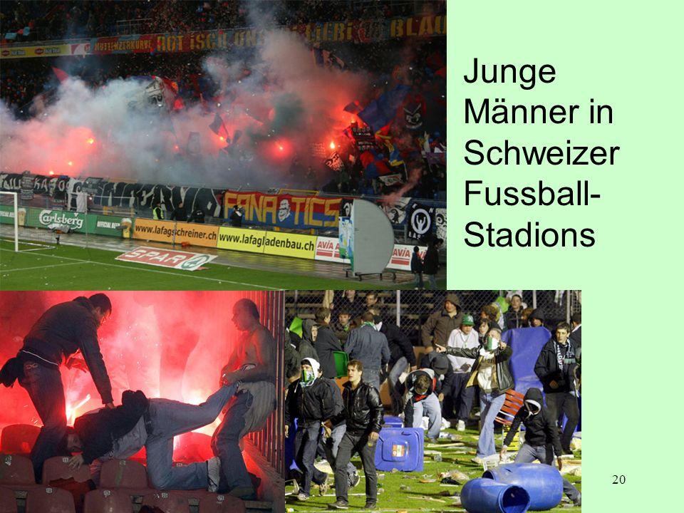 20 Junge Männer in Schweizer Fussball- Stadions