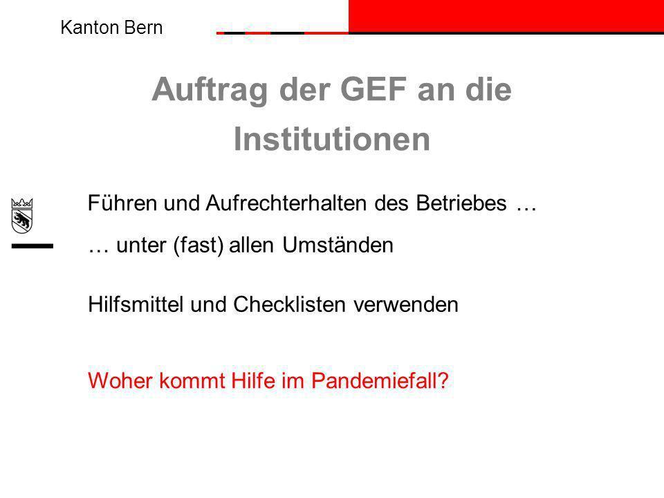 Kanton Bern Auftrag der GEF an die Institutionen Führen und Aufrechterhalten des Betriebes … Hilfsmittel und Checklisten verwenden Woher kommt Hilfe im Pandemiefall.