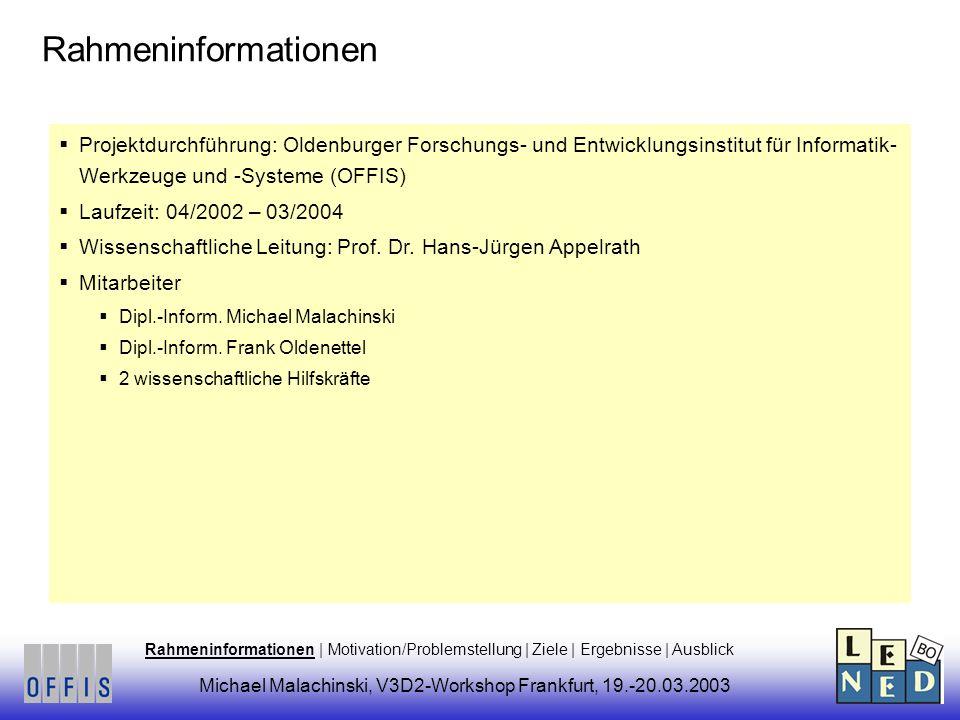 Projektdurchführung: Oldenburger Forschungs- und Entwicklungsinstitut für Informatik- Werkzeuge und -Systeme (OFFIS) Laufzeit: 04/2002 – 03/2004 Wissenschaftliche Leitung: Prof.