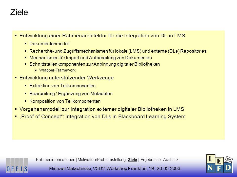 Ziele Entwicklung einer Rahmenarchitektur für die Integration von DL in LMS Dokumentenmodell Recherche- und Zugriffsmechanismen für lokale (LMS) und externe (DLs) Repositories Mechanismen für Import und Aufbereitung von Dokumenten Schnittstellenkomponenten zur Anbindung digitaler Bibliotheken Wrapper-Framework Entwicklung unterstützender Werkzeuge Extraktion von Teilkomponenten Bearbeitung / Ergänzung von Metadaten Komposition von Teilkomponenten Vorgehensmodell zur Integration externer digitaler Bibliotheken in LMS Proof of Concept: Integration von DLs in Blackboard Learning System Rahmeninformationen | Motivation/Problemstellung | Ziele | Ergebnisse | Ausblick Michael Malachinski, V3D2-Workshop Frankfurt, 19.-20.03.2003