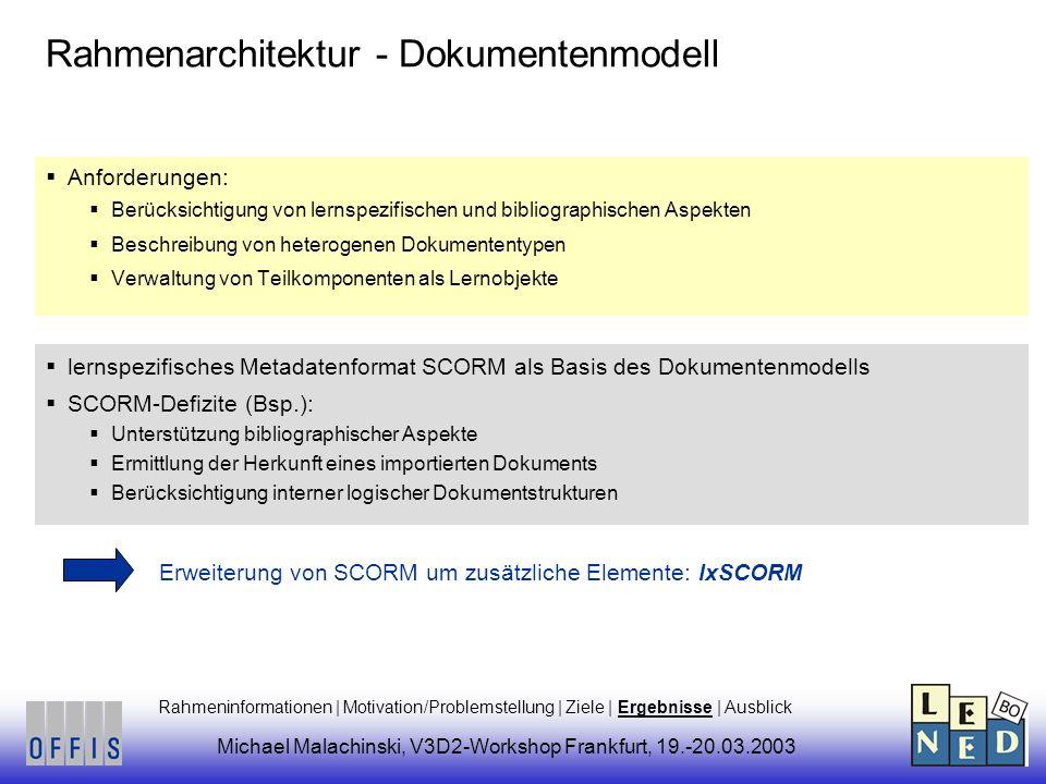Rahmenarchitektur - Dokumentenmodell Anforderungen: Berücksichtigung von lernspezifischen und bibliographischen Aspekten Beschreibung von heterogenen